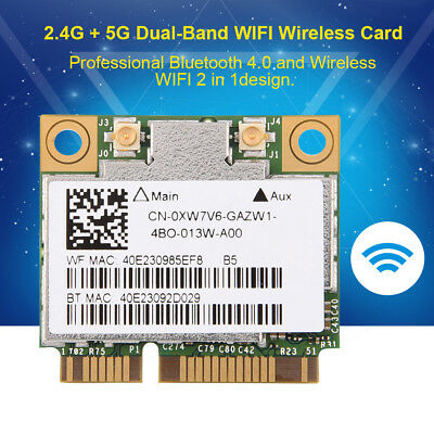 Dual Band 802.11ac PCI-E WiFi Bluetooth 4.0 Wireless Card 2.4/5GHz for Laptops