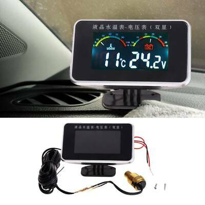 12-24V Car 2in1 LCD Digital Display Voltmeter Kits Gauge Water Temperature Meter