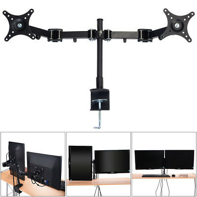 Vertical Dual Monitor Stand 2 Arm LED Screen Double Bracket Holder Desk Mount AU