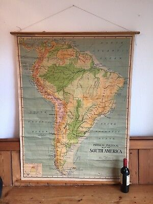 Vintage School Map South America, Patagonia, Brazil, Retro, Travel, Wanderlust.