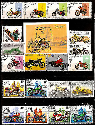 ALL COUNTRIES block and stamps : MOTORCYCLES old and modern 303T5