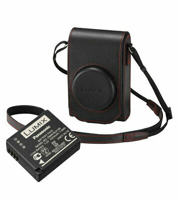 Panasonic TZ100KIT-LE-R Black Leather Case with Red Stitch and Battery Kit