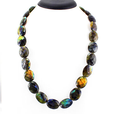 495.00 Cts Natural Blue Flash Oval Faceted Labradorite Beads Necklace