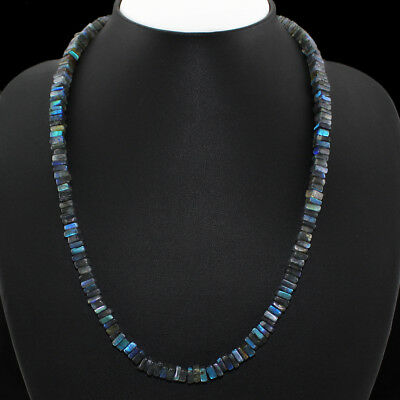235.00 Cts Natural Untreated Blue Color Flash Labradorite Beads Necklace
