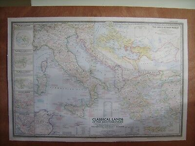 Vintage map of Classical Lands and the Mediterranean.
