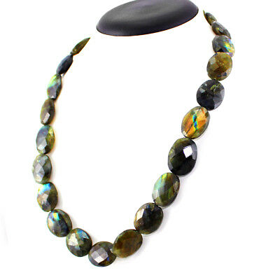 Premium 437.05 Cts Natural Oval Faceted Labradorite Beads Necklace Gemstone