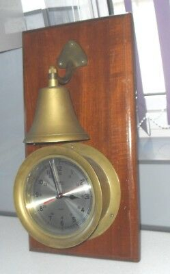 Large Vintage Accuracy Ships Time Solid Brass Clock Bell On Mahogany Wall Mount