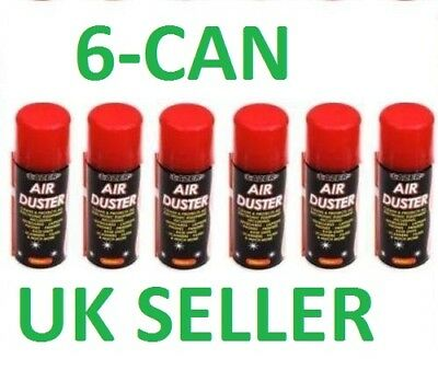 New 6 x 200ml Compressed Air Duster Spray Can Cleans Protects Laptops Keyboards