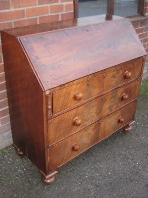 George III antique Cuban mahogany rosewood 3 drawer writing table bureau desk