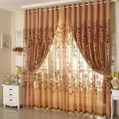 USA Floral Voile Curtain Window Blackout Tulle Living Room Drape Panel Curtain