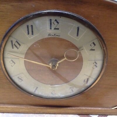 Antique Vintage Bentima 8 day mantel clock wooden and metal working