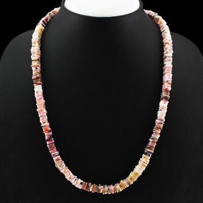 Aaa 205.00 Cts Natural Untreated Rich Pink Australian Opal Beads Necklace