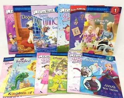 MIX LOT 10 Level 2 GIRL INTEREST early step level readers Disney Barbie MORE
