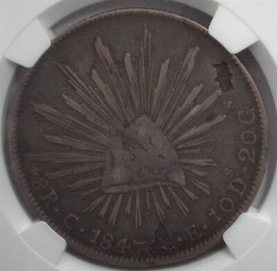Mexico 1847-Cce Silver 8 Reales Defective Planchet Mint Error Ngc Vf25 Rare Date