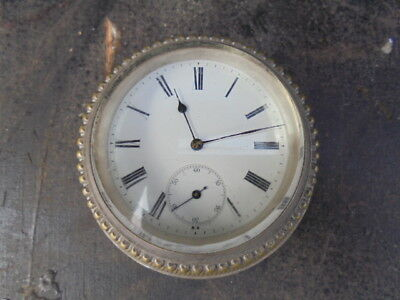 Antique Silver Plated Desk Clock Table Clock