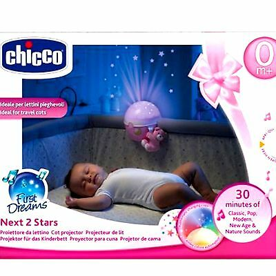 New Chicco Next 2 Stars Projector Light Pink Melodies Nightlight Projector