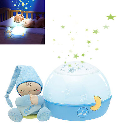 New Chicco Blue Goodnight Stars Soft Nursery Projector Baby Musical Nightlight