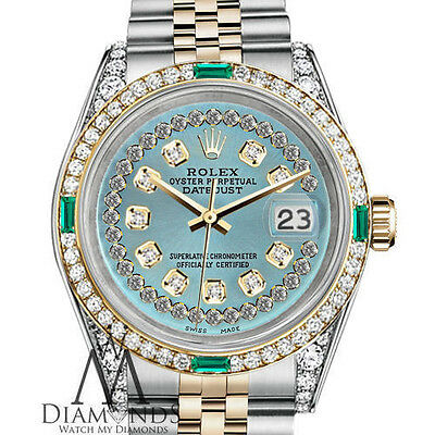 Women's Rolex SS Gold 26mm Datejust Ice Blue String Emerald Diamond Dial Watch