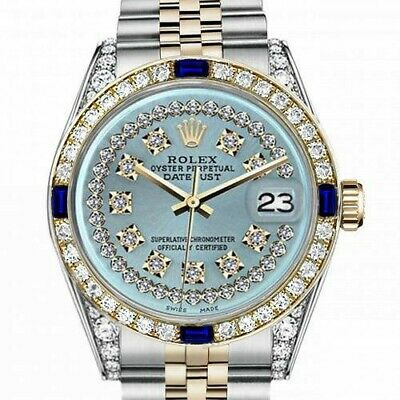 Rolex 26mm Datejust Ice Blue String Diamond Accent Dial with Sapphire Watch