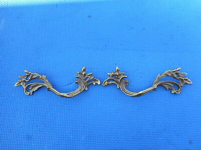 2 French Provincial Style Brass Drawer Furniture Pulls Vintage NOS  Italian Nice