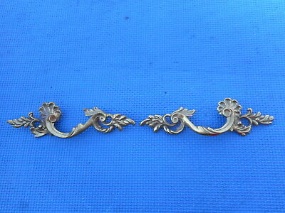 Lot of 2 French Provincial  Brass Furniture Drawer Pulls Ornate Leaf Vintage NOS