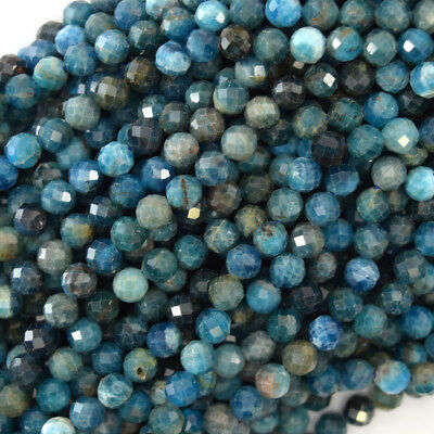 """Natural Faceted Blue Apatite Round Beads 15.5"""" Strand 3mm 4mm 6mm 8mm 10mm 12mm"""
