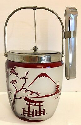 Vintage Japanese Red Glass Ice Bucket with Attached Lid, Ice Tongs