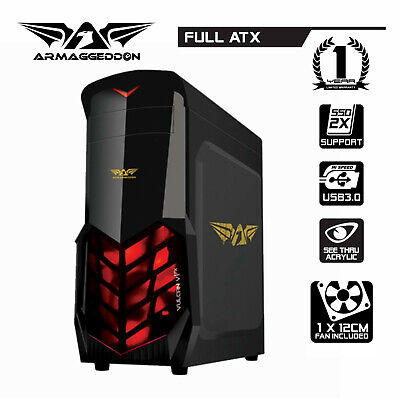 PC Case Gaming Tower Armaggeddon Vulcan V1X LED Fan Computer Case Full ATX Audio