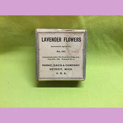 Vintage Sealed Crude Drug Box, Lavender Flowers, Parke, Davis & Co.