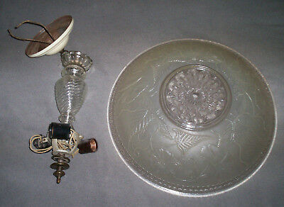 "Antique Vintage Chandelier Hanging Ceiling Light Fixture Frosted 15"" Glass Shade"
