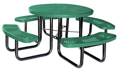 Round Expanded Metal Picnic Table, Green - 4HUP7