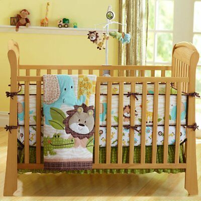 Mother & Kids New 7 Pcs Baby Bedding Set Baby Cot Crib Bedding Set Cartoon Animal Baby Crib Set Quilt Bumper Sheet Skirt Harmonious Colors Baby Bedding