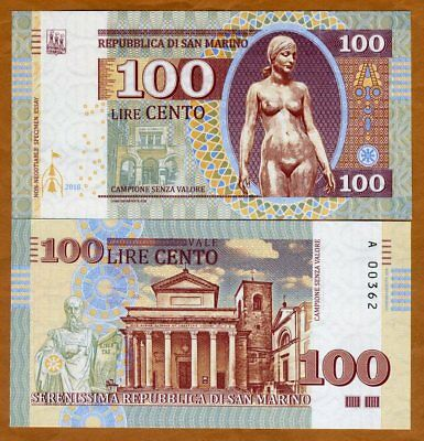 San Marino, 100 Lire, 2018, Private Issue, Essay, UNC