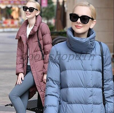 2016 New Ladies Winter WARM Down Jacket Parka Long Stand Collar Puffer Coat Size