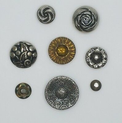 Mixed Lot of Antique and Vintage Metal Brass & Pewter Buttons Gemstones Floral