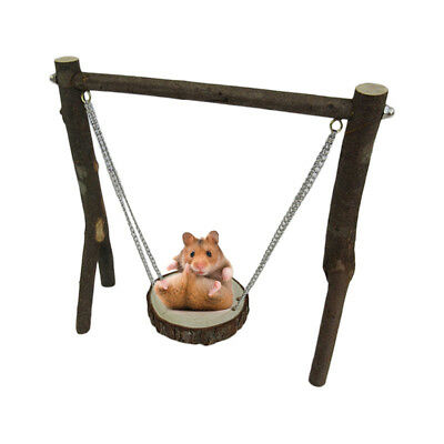 Small Animals Pet Hamster Chinchilla Mouse Wooden Hanging Swing Exercise Toy DIY