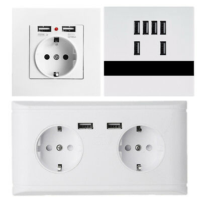 2.1/2.4A 16A Dual USB Ports Wall Charger Adapter Socket Outlet Panel EU Plug