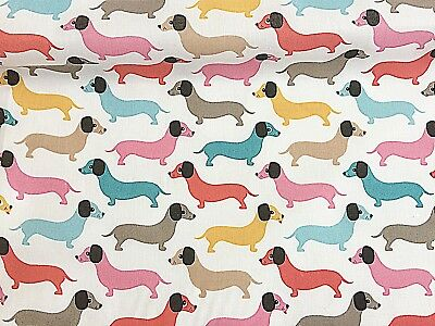NEW!  PolyCotton Sausage Dachshund  Dog White Blue Pink Yellow Pet Reduced Price