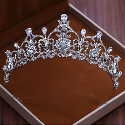 5.5cm High CZ Full Crystal Leaf Wedding Bridal Party Pageant Prom Tiara Crown