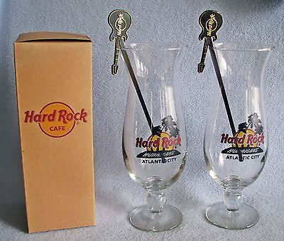 "2 HARD ROCK CAFE Hurricane Glasses & STIRRERS Atlantic City 9 1/4"" Tall  NIB"
