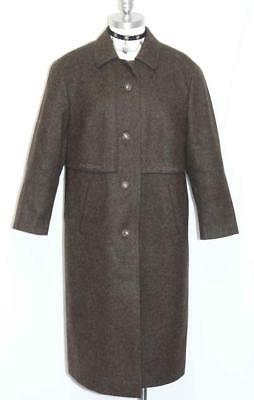 BROWN ~ LONG Boiled WOOL Women WARM German Hunting Winter Trench Over COAT 14 L