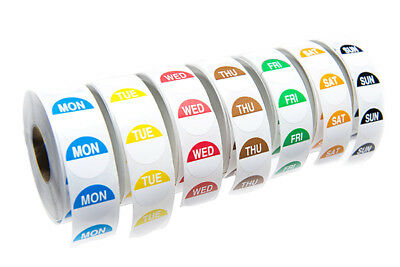 One week food label day dots- 1000 labels per day- 20mm round - in dispenser box