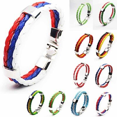 Colorful World Cup Country Flag Leather Bracelet Braided 3 Strands PU Cheer