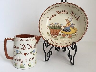 Vintage Pottery Child's Cereal Bowl & Pitcher Personalized 1941