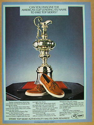 1978 Sperry Top-Sider America's Cup shoes trophy photo vintage print Ad