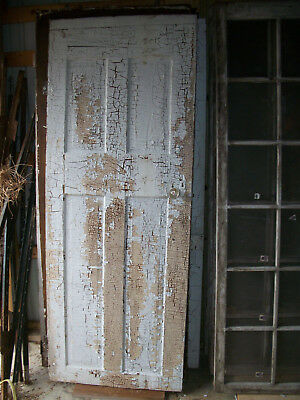 Antique vintage painted oak? frame  4 panel solid door with glass knob 30x78