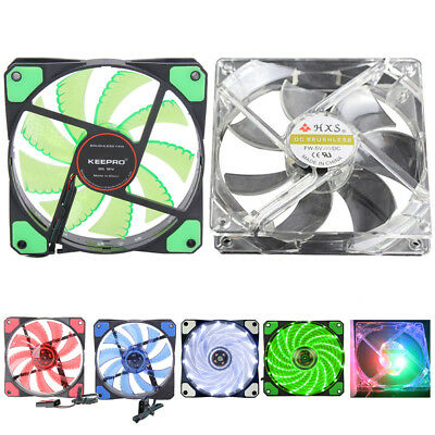 12V 3-4Pin 15 LED Light Neon Quite Clear 120mm PC Computer Case Cooling Fan lot