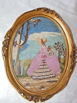 Vintage Hand Embroidered, Embroidery Picture Of A Crinoline Lady Oval Gold Frame