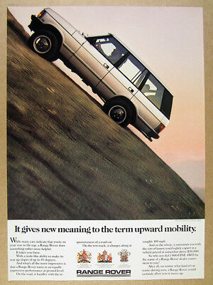 1987 Range Rover Classic steep slope photo vintage print Ad