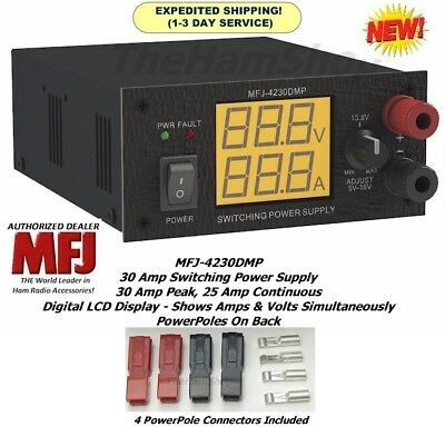 MFJ-4230DMP 30 AMP Switching Power Supply - LCD Screen 4-16 Volts & Powerpoles